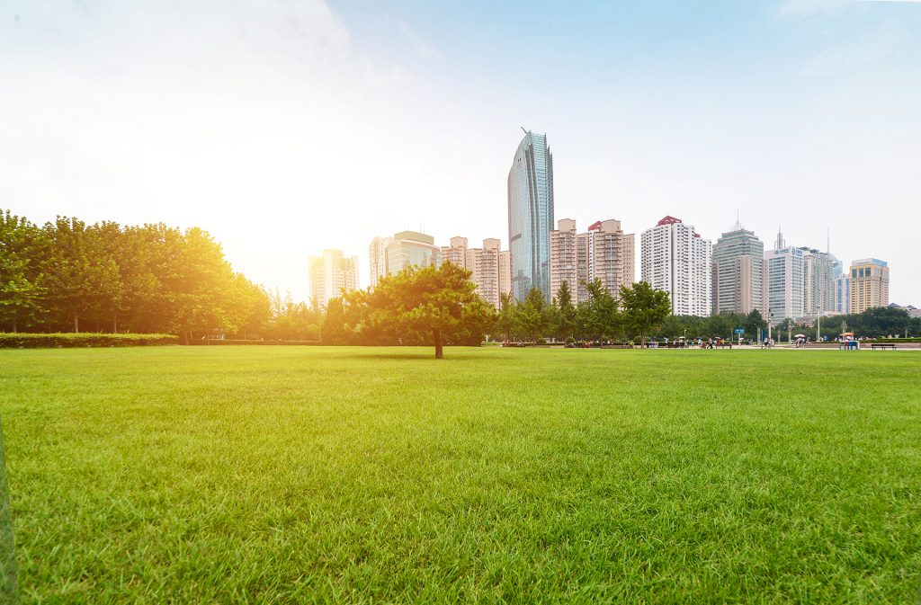 Ville futuriste avec de grands espaces verts